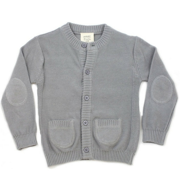 Organic Baby Knitted Front Button Cardigan Grey