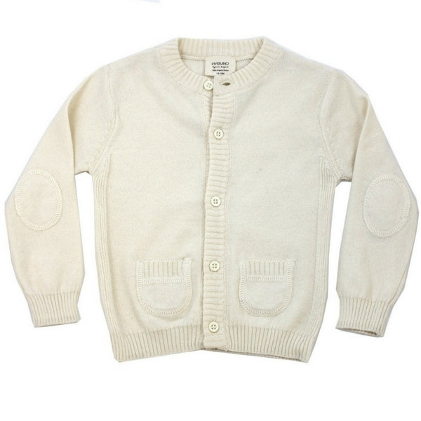 Viverano Organic Baby Knitted Front Button Cardigan  Cream