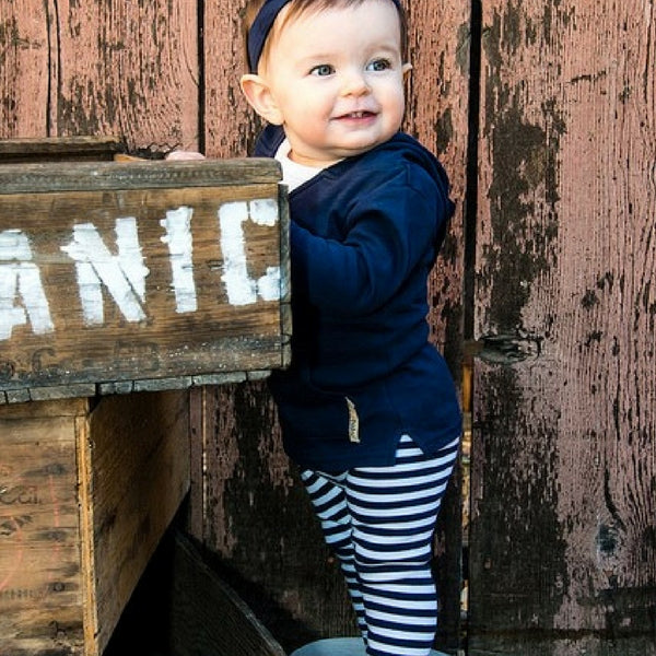 Loved Baby Organic Cotton Leggings  Navy Stripe