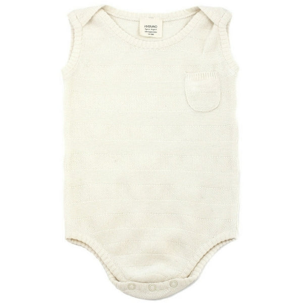 Organic Baby Milan Striped Sleeveless Bodysuit Cream