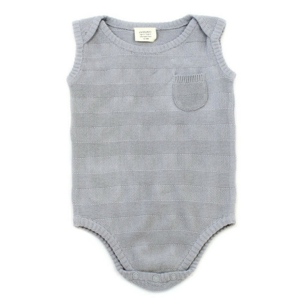 Viverano Organic Baby Milan Striped Sleeveless Bodysuit  Grey