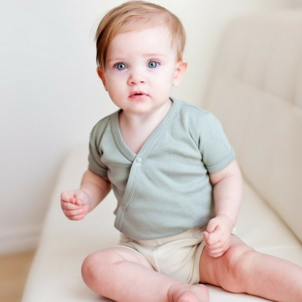 Loved Baby Organic Cotton Shortsleeved Kimono Bodysuit  Slate