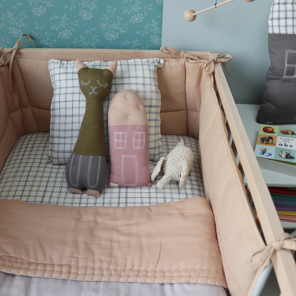 Camomile London Hand Embroided Reversible Quilt / Blanket  Blush and Pearl Pink