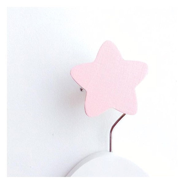 Knobbly Star Wooden Wall Hook   Pink