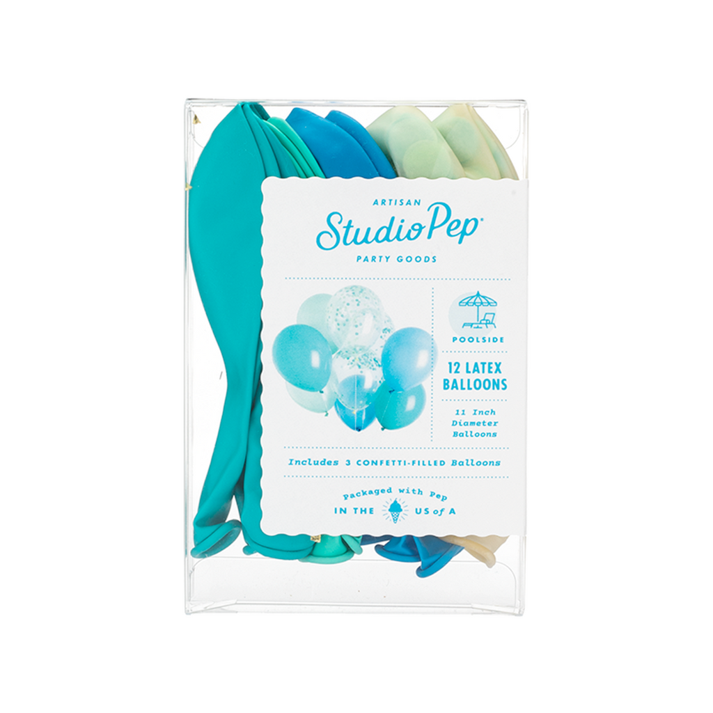 Studio Pep - Poolside Blue Classic and Confetti Balloons 12 Pack