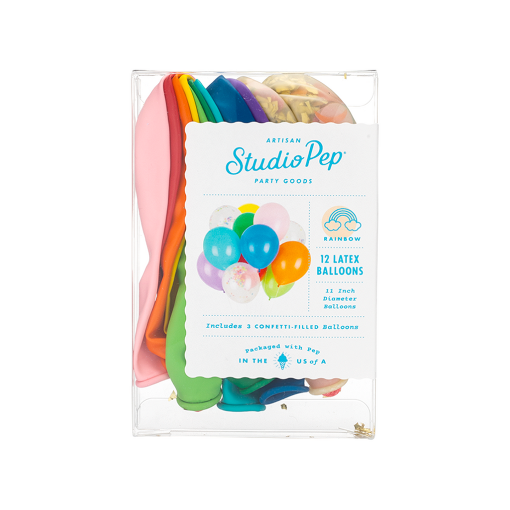 Studio Pep - Rainbow Classic and Confetti Balloons 12 Pack