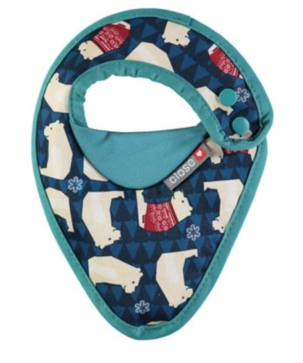 Close Bandana Dribble Bib  Polar Bear