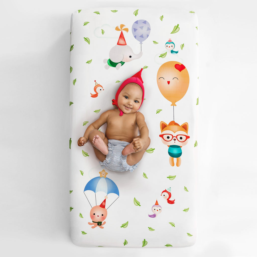 Rookie Humans Fitted Cot Sheet  Balloon Party