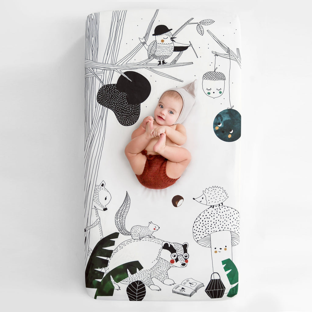Rookie Humans Fitted Cot Sheet  Woodland Dreams