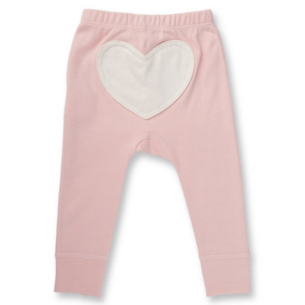 Sapling Organic Baby Clothes   Heart Pants  Blushing Pink