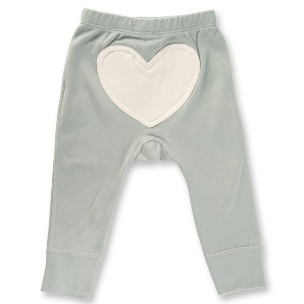 Sapling Organic Baby Clothes   Heart Pants  Dove Grey