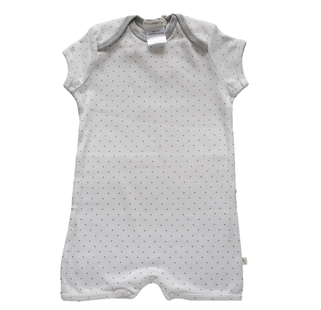 Huckleberry Lane Baby Basics - Small Dots Short Sleeved Romper