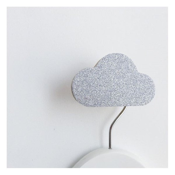 Knobbly Cloud Wooden Wall Hook   Silver Glitter