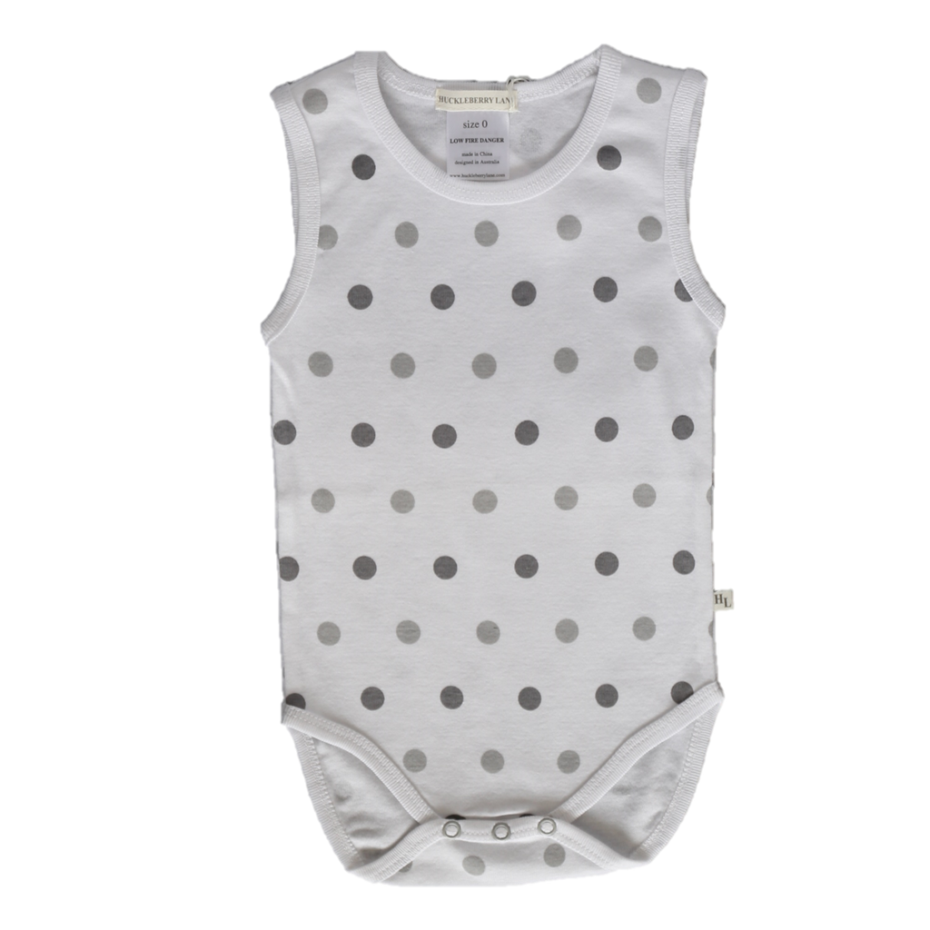 Huckleberry Lane Baby Basics - Baby Singlet Romper Big Dots