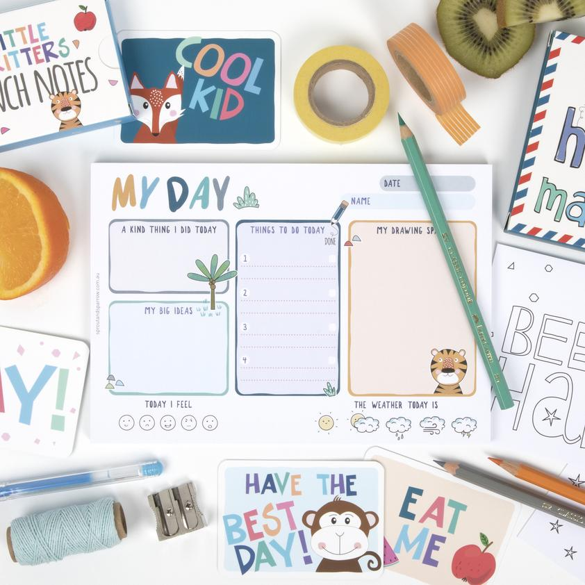 Sprout and Sparrow My Day Kids Planner Notepad - Blue
