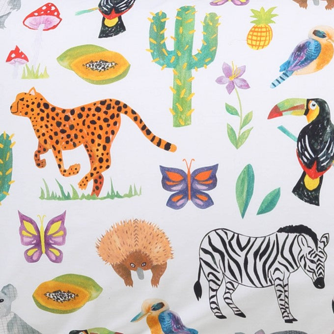 Kip & Co Jungle Animal Cotton Fitted Cot Sheet