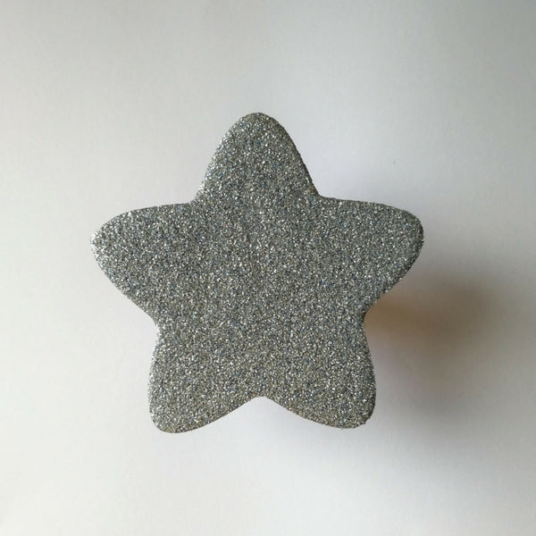 Knobbly Star Wooden Wall Hook   Silver Glitter