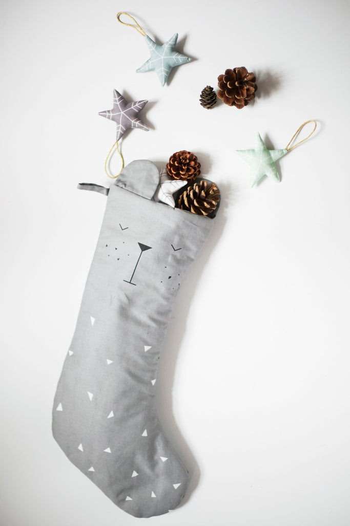 Fabelab Christmas Stocking Grey Bear