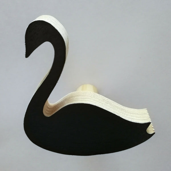 Knobbly Swan Wooden Wall Hook   Black