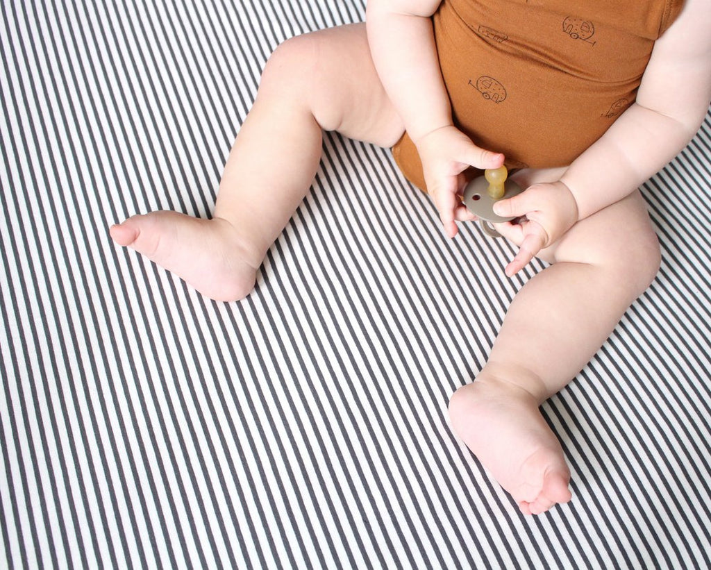 The Rest Charcoal Stripe Organic Cotton Fitted Cot Sheet