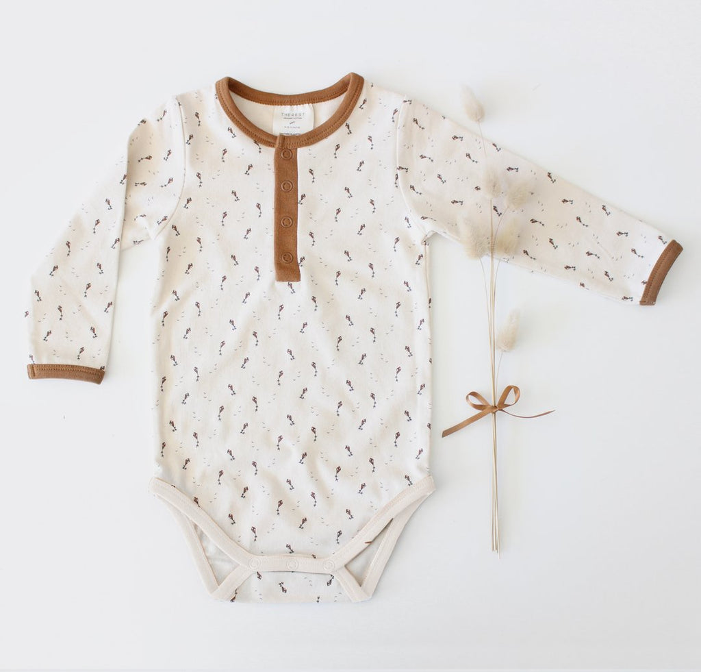 The Rest Organic Cotton Long Sleeve Bodysuit - Flying Kites