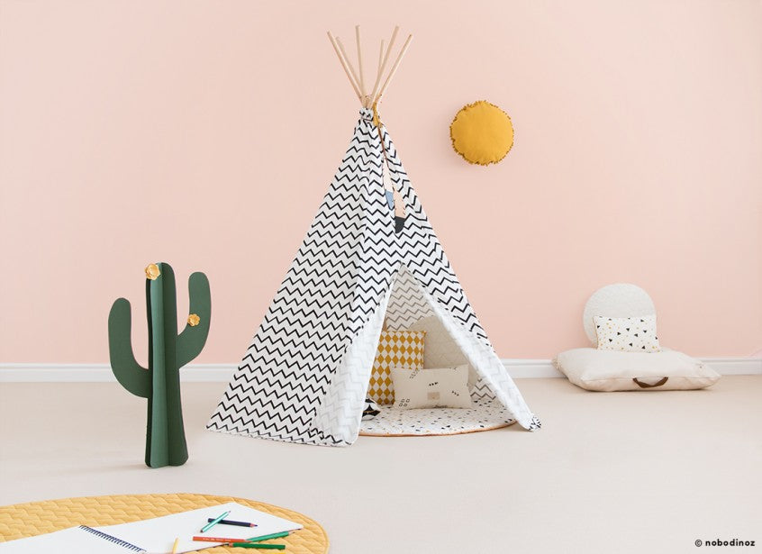 Nobodinoz Arizona Kids Teepee Zig Zag Black