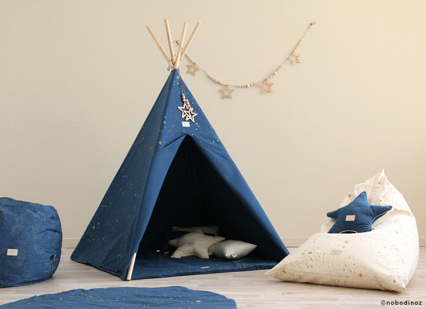 Nobodinoz Phoenix Kids Teepee Night Blue with Gold Bubbles