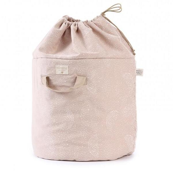Nobodinoz  Bamboo Toy Storage Bag Misty Pink with White Bubbles