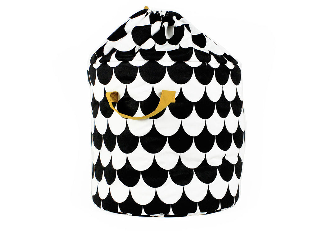 Nobodinoz - Baobab Toy Storage Bag Black Scales