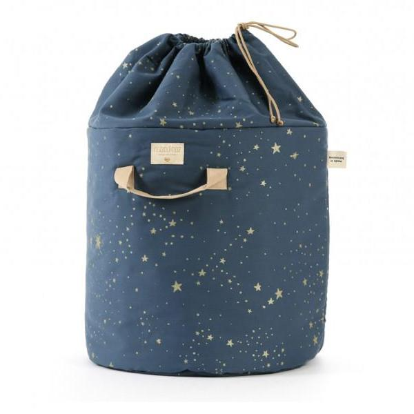 Nobodinoz - Bamboo Toy Storage Bag Stella Night Blue with Gold Stars