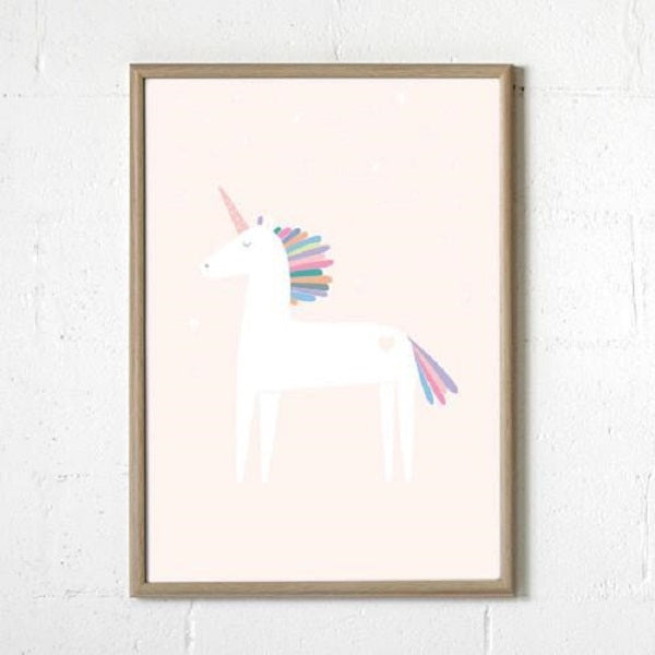 Sprout and Sparrow Kids Wall Art   Unicorn Pink