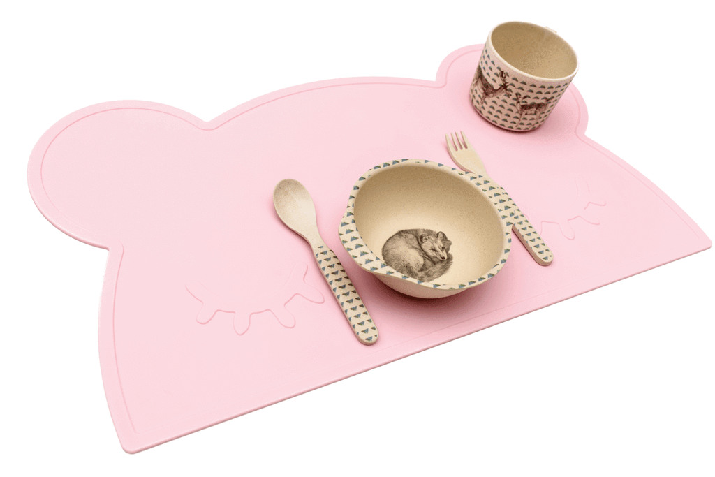 We Might Be Tiny Silicone Placemat - Bear Placie Pink