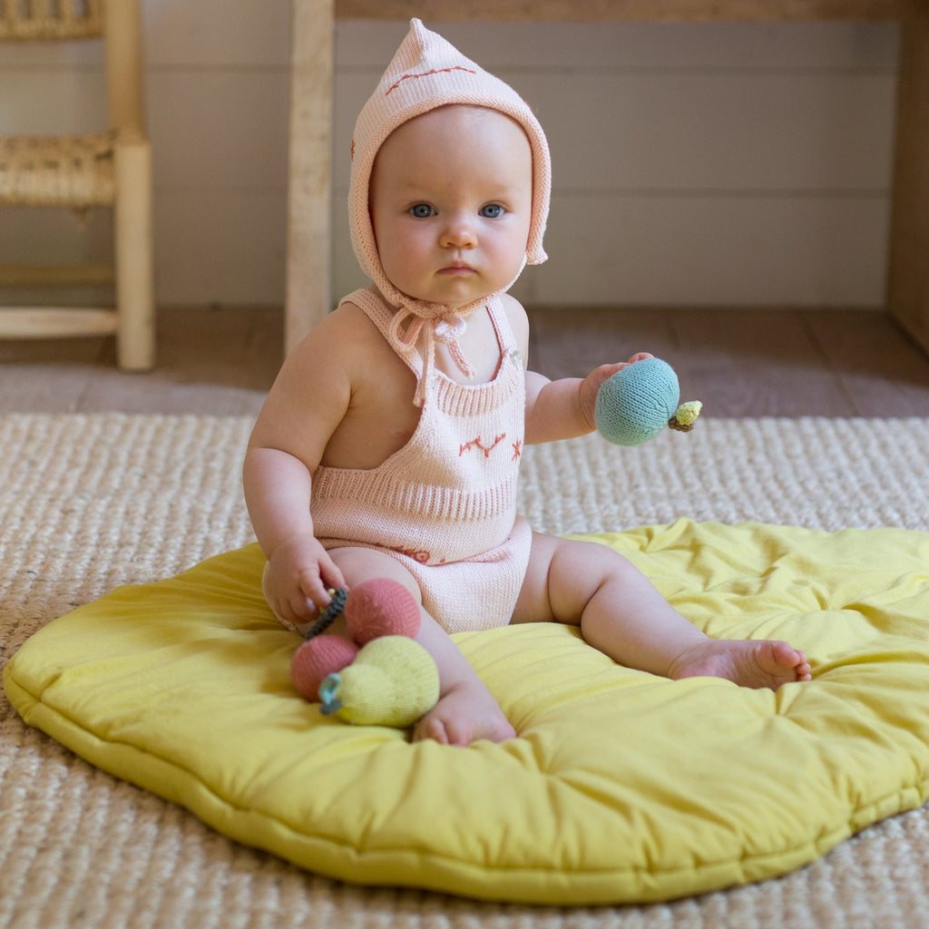 blabla Knitted Cotton Baby Rattle - Apple