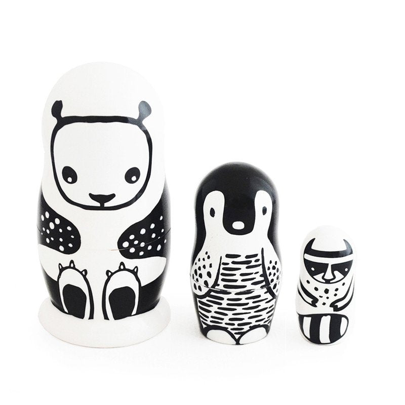 Wee Gallery Nesting Dolls – Black and White Animals