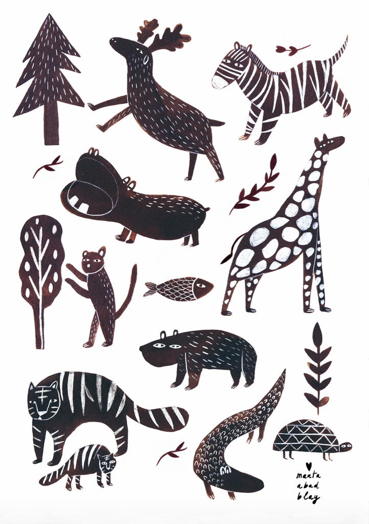 Marta Abad Blay Kids Wall Art  Wild Animals