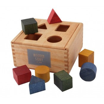 Wooden Story Toys - Colourful Wooden Shape Sorting Box