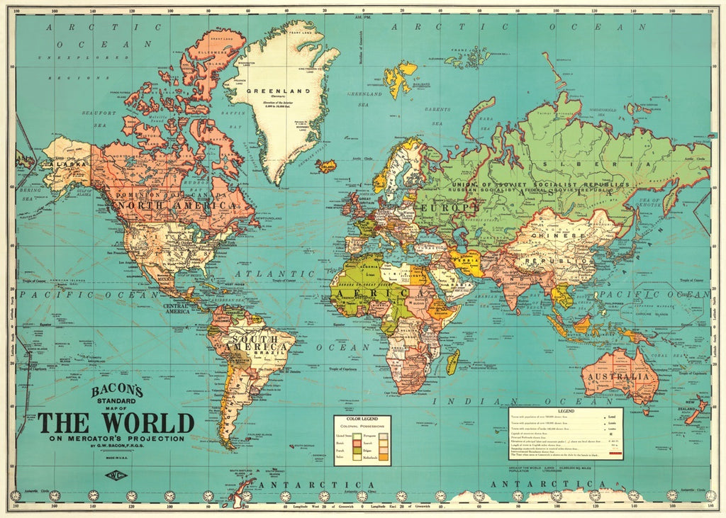 Kids Wall Art  Retro 80s Map