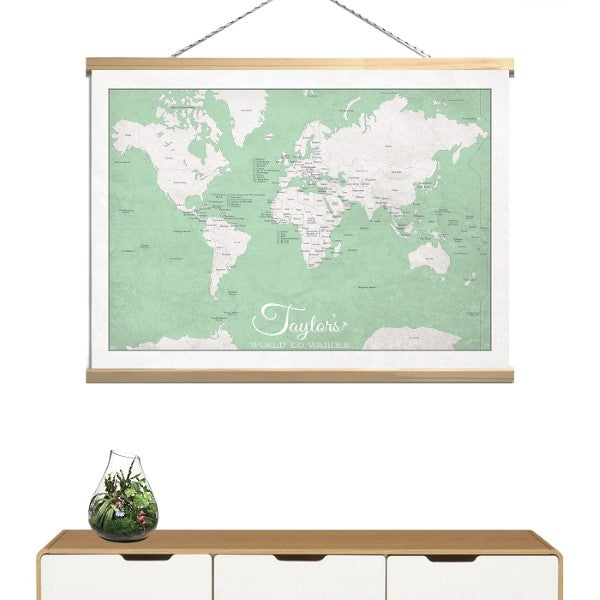 May and Belle Kids Wall Art World Map  Canvas