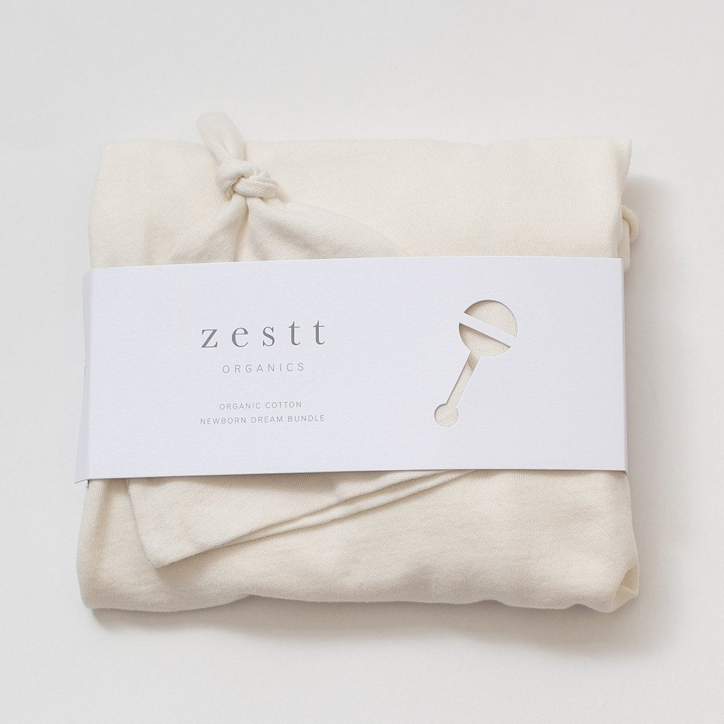 Zestt Organics Baby Blanket- Organic Cotton Newborn Dream Bundle in Soft White