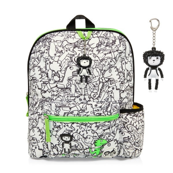 Zip and Zoe Kids Backpack Dino Black and White