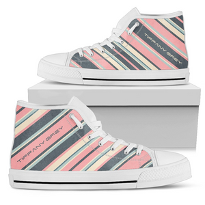 Tiffany Grey - High Top Candyman Cotton Candy Sneakers for Her