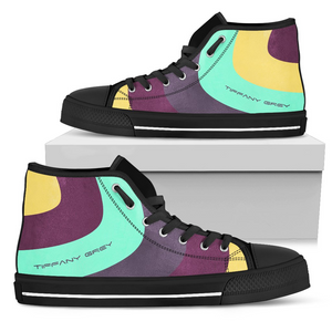 Tiffany Grey - High Top MyWay Acid Flower Sneakers for Her