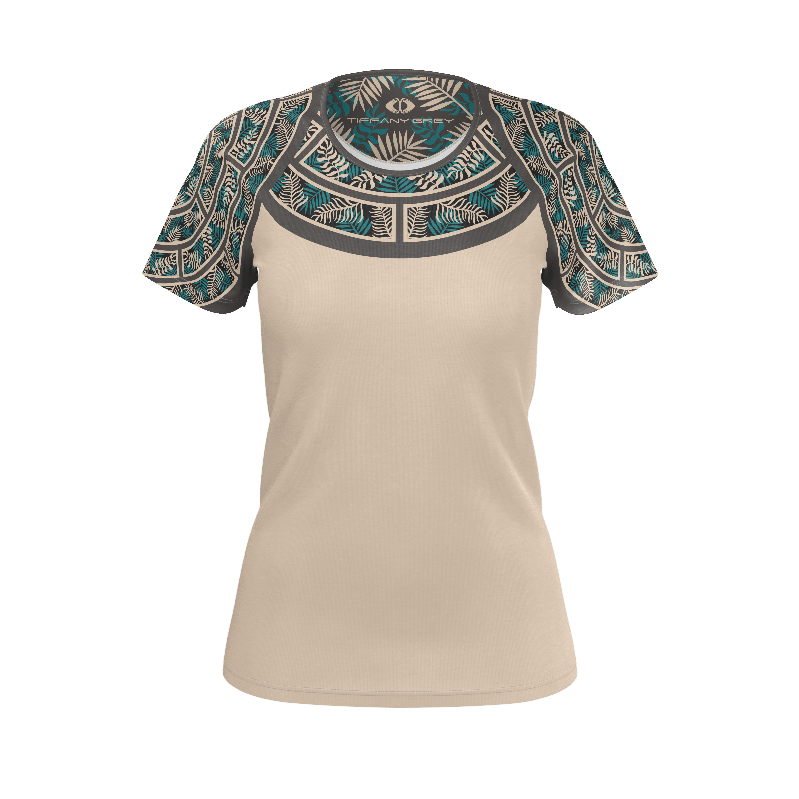 Tiffany Grey - Junglenaut Teal Sandstone T-shirt for Her