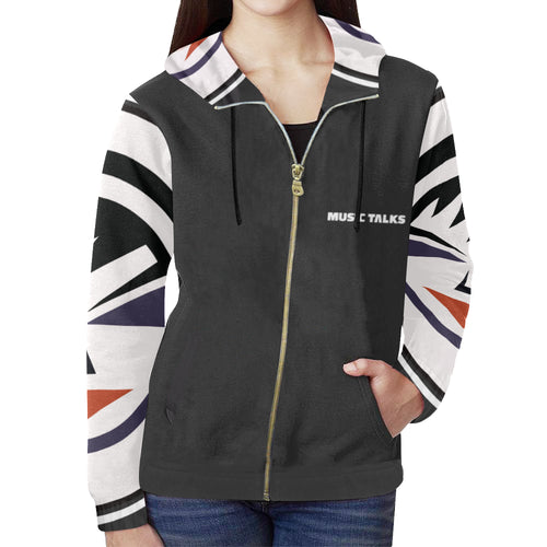 Music Talks Womens Zipper Hoodie