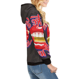 Womens All Over Printed Turtleneck Hoodie