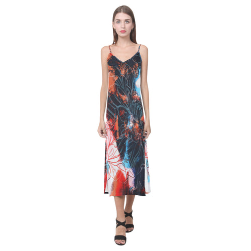 Floral Aura V-Neck Open Fork Long Dress