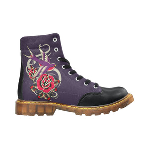 Womens purple lace up boot with bird tattoo