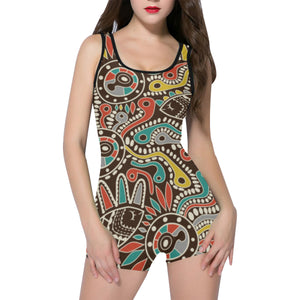 Womens Boy-Leg One Piece Swimmers