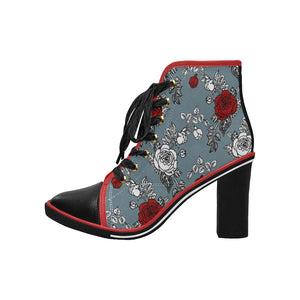 Red Rose Women's Canvas Lace Up Chunky Heel Ankle Boots