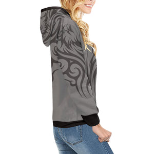 Wolf Women's All Over Print Turtleneck Pullover Hoodie